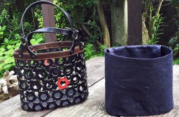 籠バッグ〈麻内袋付き〉 ブラック
